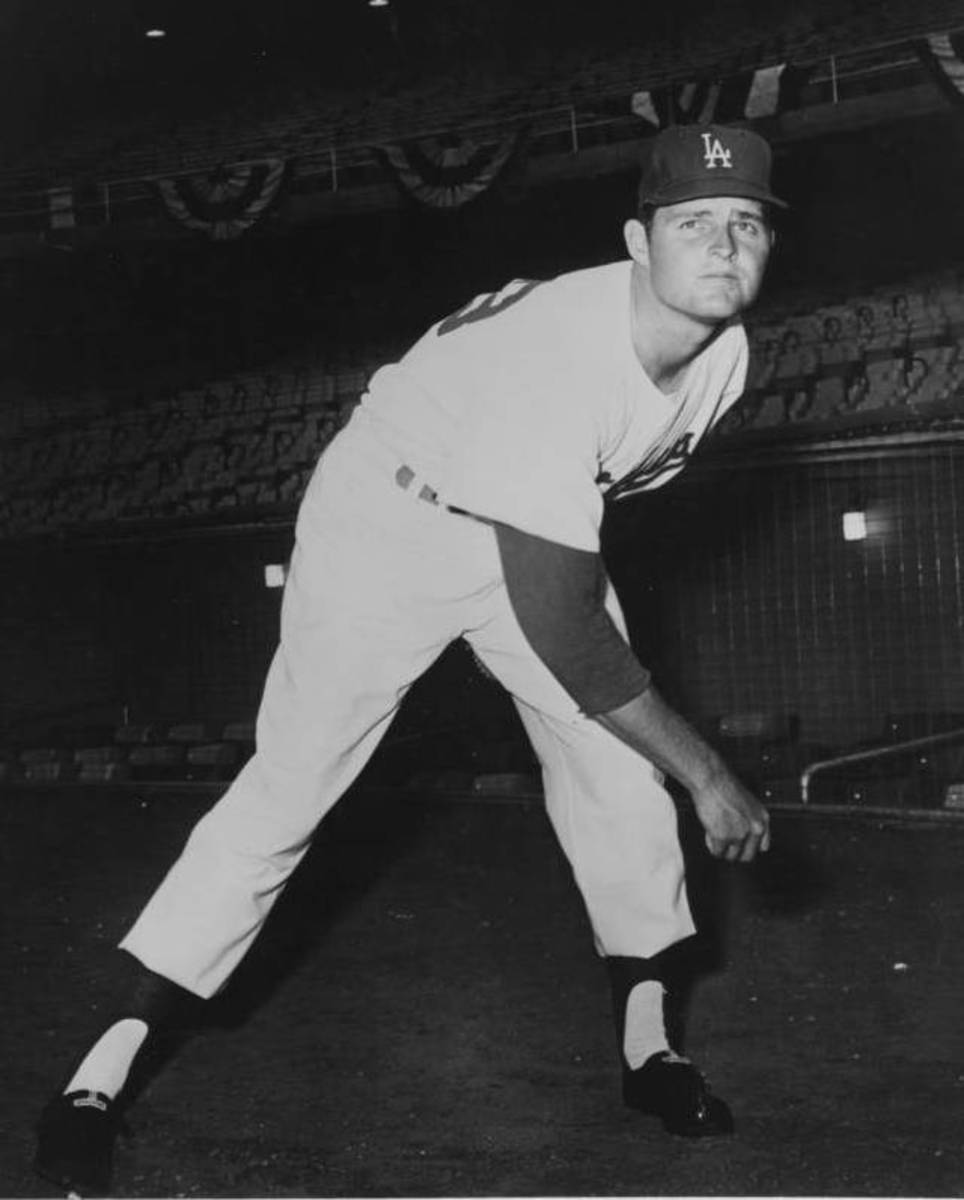 Hall of Famer Don Drysdale, seen here around 1960, was a pivotal pitcher for the Dodgers in five World Series appearances.
