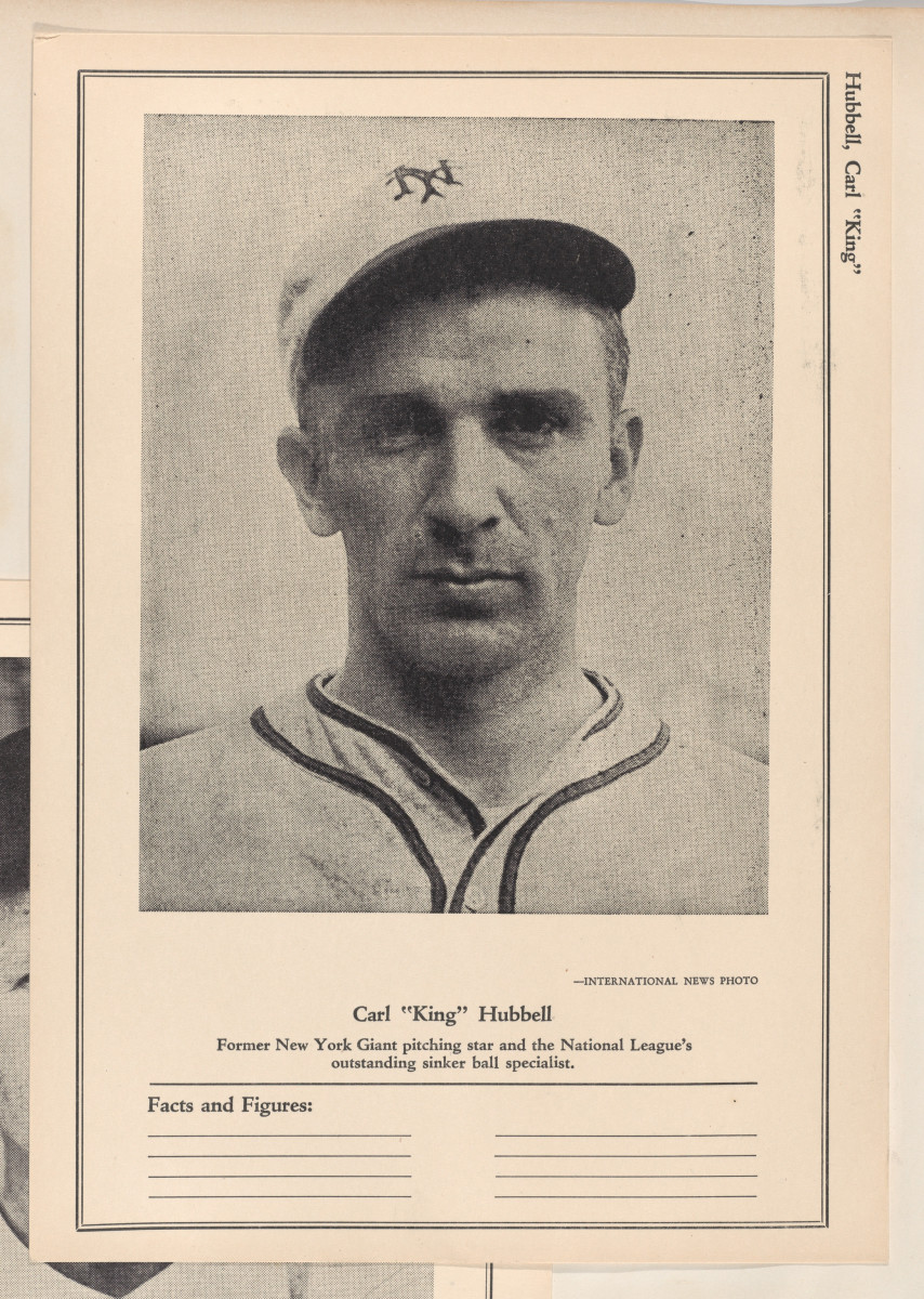 Former New York Giants pitcher Carl Hubbell is pictured on a trading card.