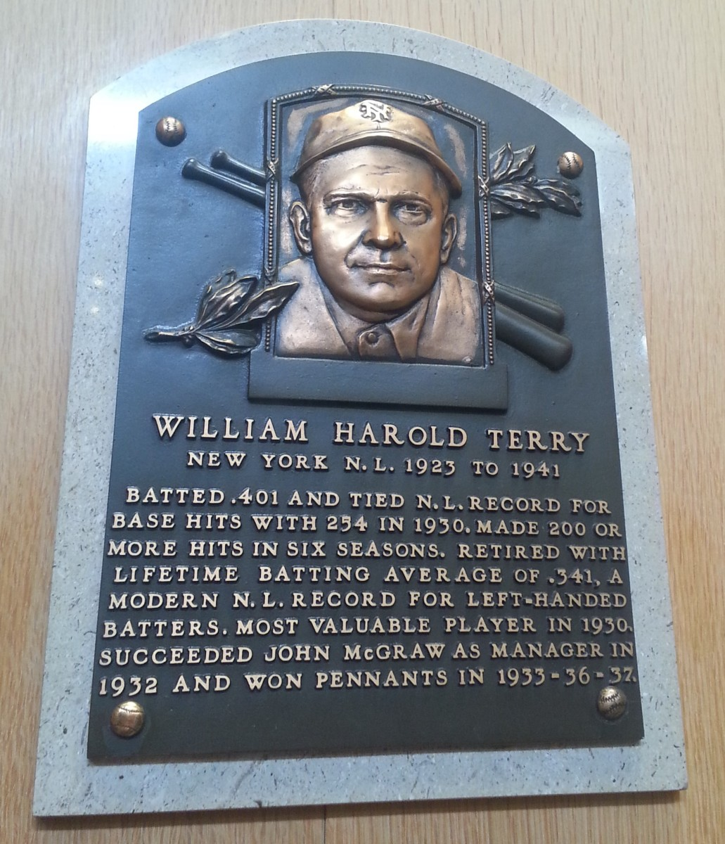 The Hall of Fame plaque of former New York Giants legend Bill Terry, as seen in the Baseball Hall of Fame.