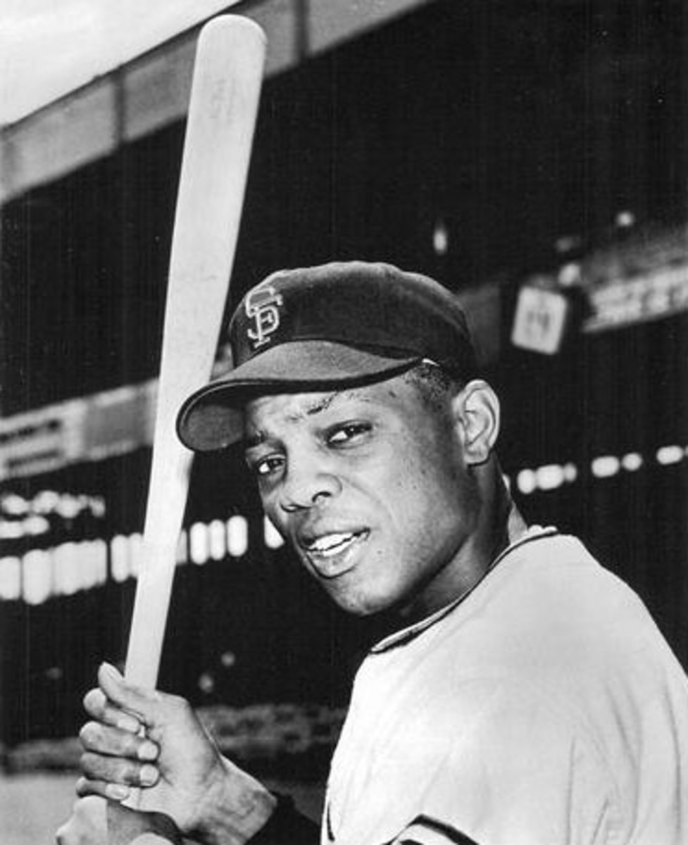 Former San Francisco Giants outfielder and Baseball Hall of Famer Willie Mays prepares for the 1961 season. The two-time Most Valuable Player is one of the greatest Major League Baseball players of all time.