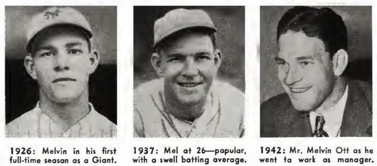 A career progression of former New York Ginats standout Mel Ott. Ott was the first player in franchise history to hit more than 500 home runs in his career.