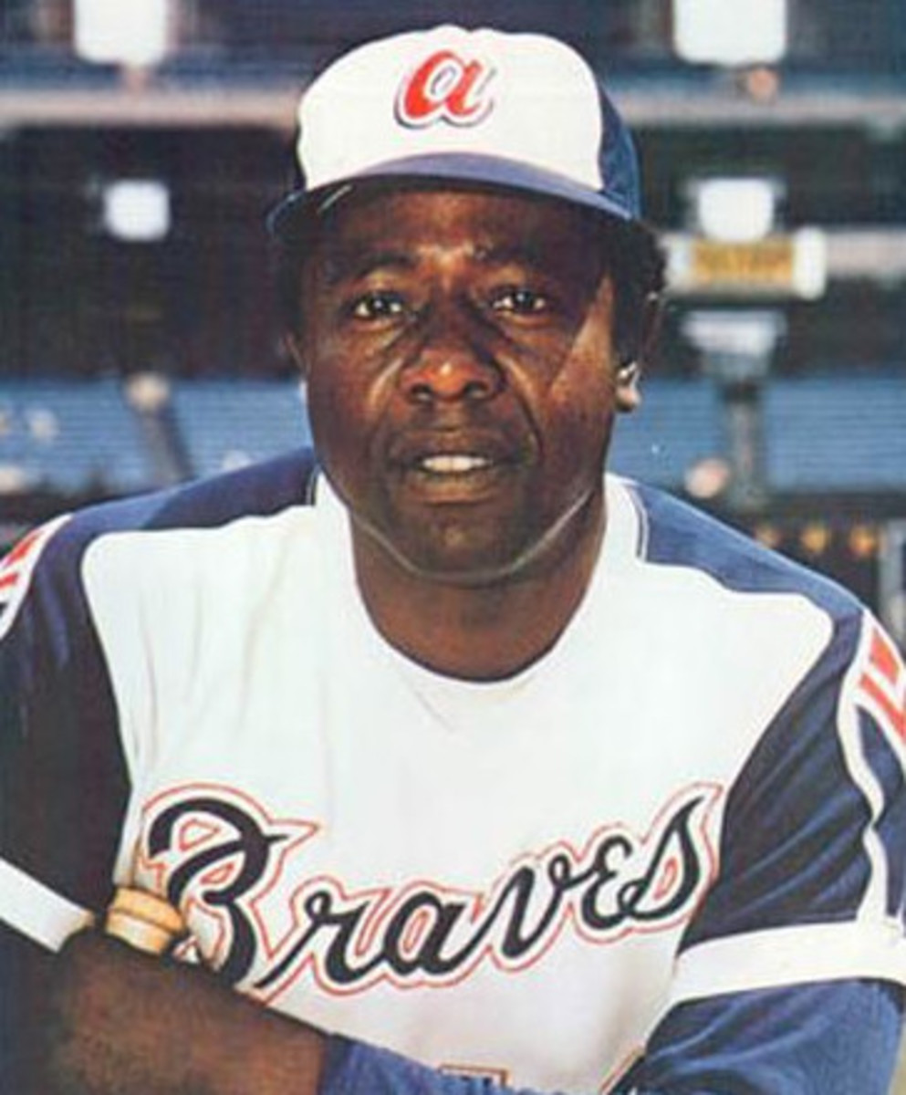Hank Aaron is pictured during the 1974 season, which is the year he broke Babe Ruth's all-time career home run record of 714.