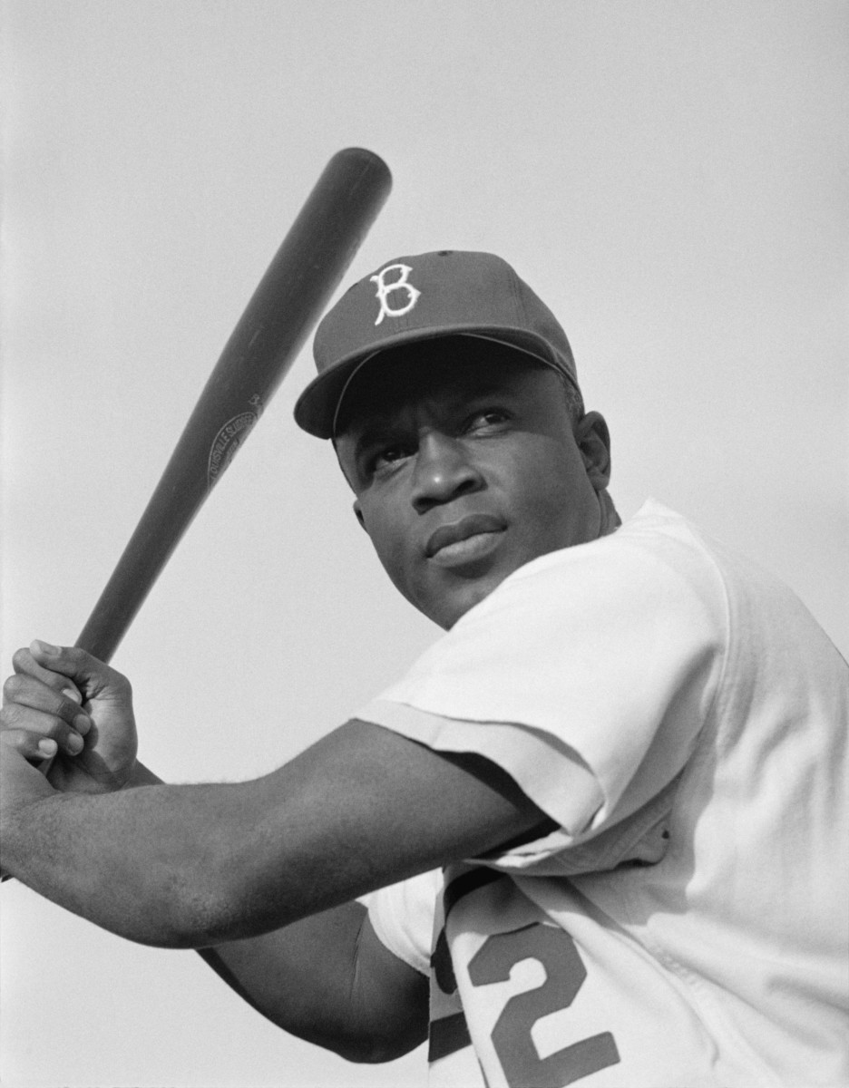 Jackie Robinson, as seen in 1954, broke Major League Baseball's color barrier in 1947 when he debuted for the Brooklyn Dodgers, and is the most influential baseball player of all-time.