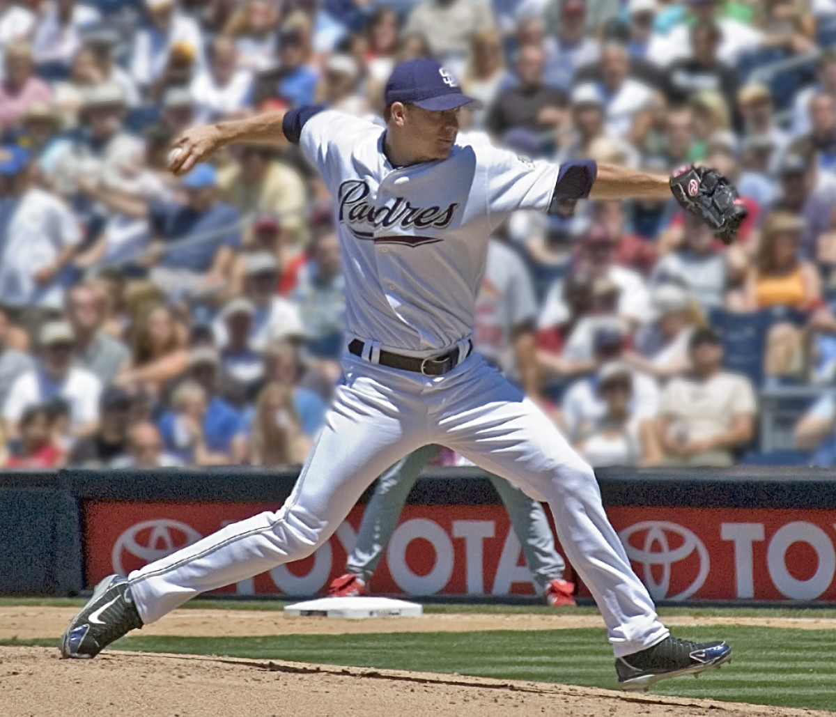 Former San Diego Padres ace Jake Peavy pitches during the 2006 season. He was the 2007 National League Cy Young Award winner after winning the pitcher's Triple Crown.