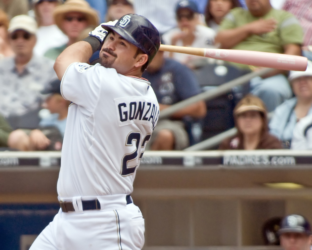 Former San Diego Padres first baseman Adrian Gonzalez bats against the Colorado Rockies during a 2008 game at Petco Park.