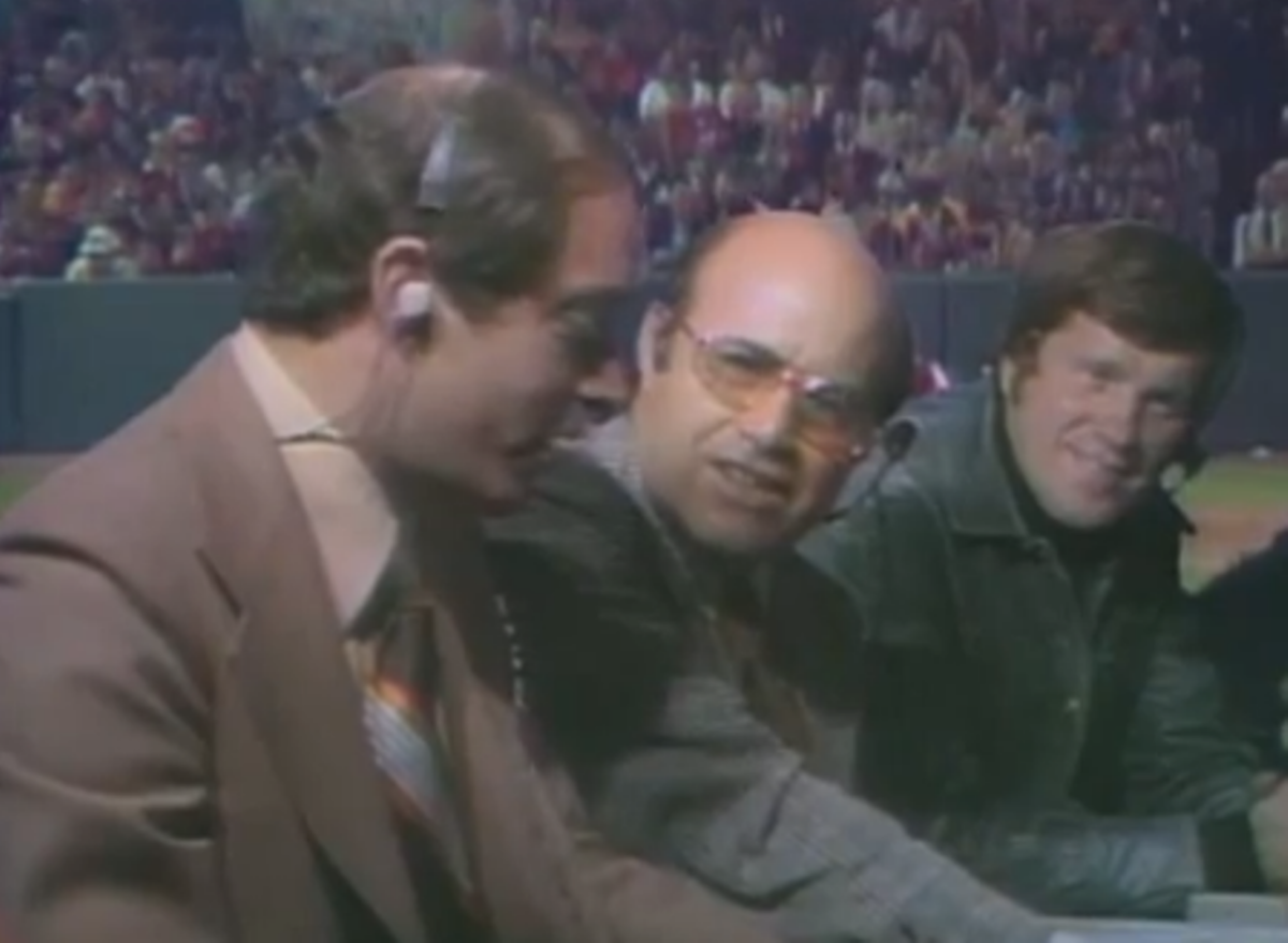 Innovative pairings: Dick Stockton, Joe Garagiola, and Tony Kubek. Curt Gowdy also did some of the games. Stockton was only 33. This game launched a Hall of Fame broadcast career.