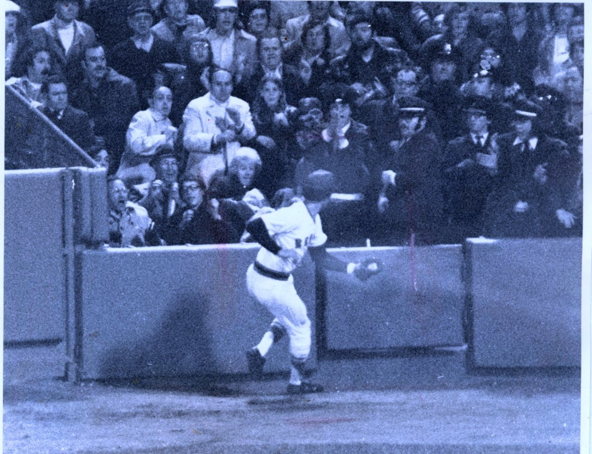 The miracle catch - Evans later said all he did was stick his glove up. He didn't see the ball in the lights.