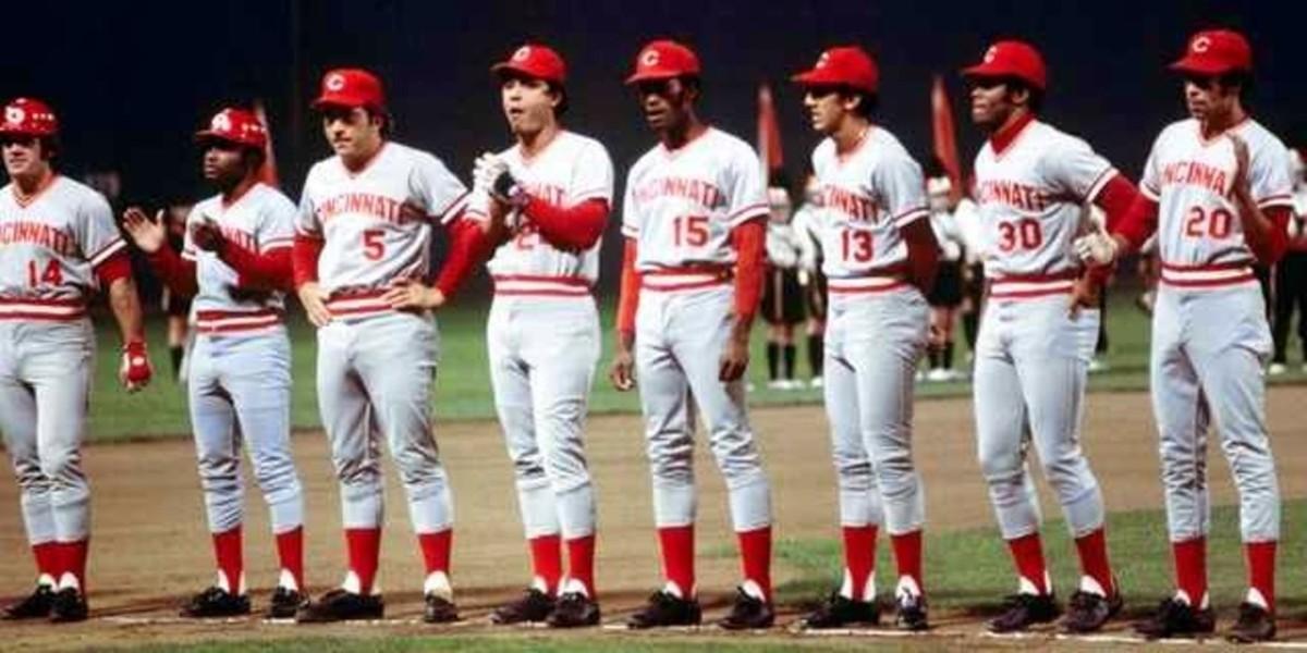 The Big Red Machine (L-R): Rose, Morgan, Griffey, Bench,  Perez,  Foster, Concepcion, Geronimo.