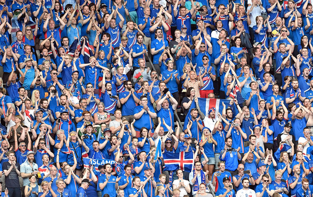 One of the lasting memories of Euro 2016 was Iceland's supporters throughout the tournament. Here is a group of fans chanting before Iceland's match against Austria.