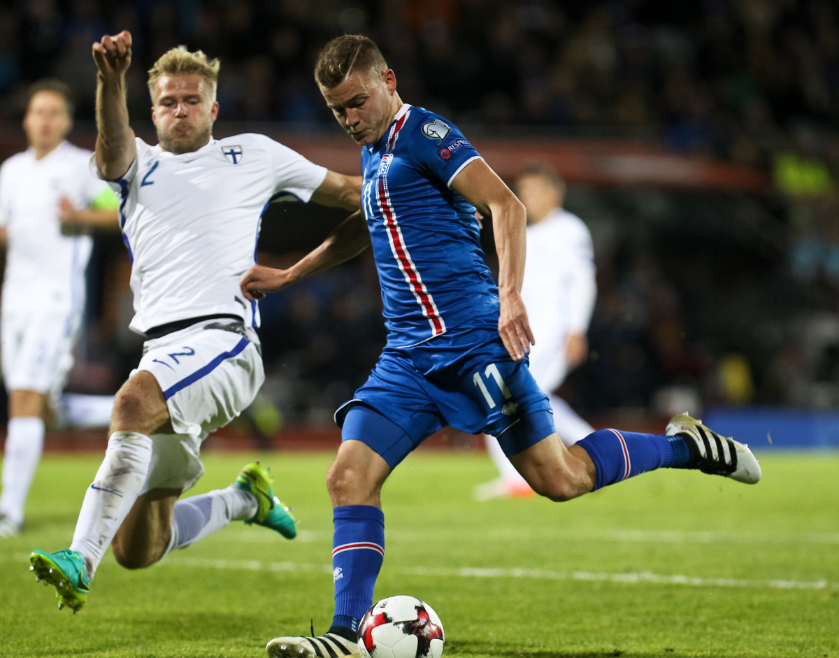 Action during a qualifying match against Finland. Iceland scored two stoppage time goals to snatch victory.