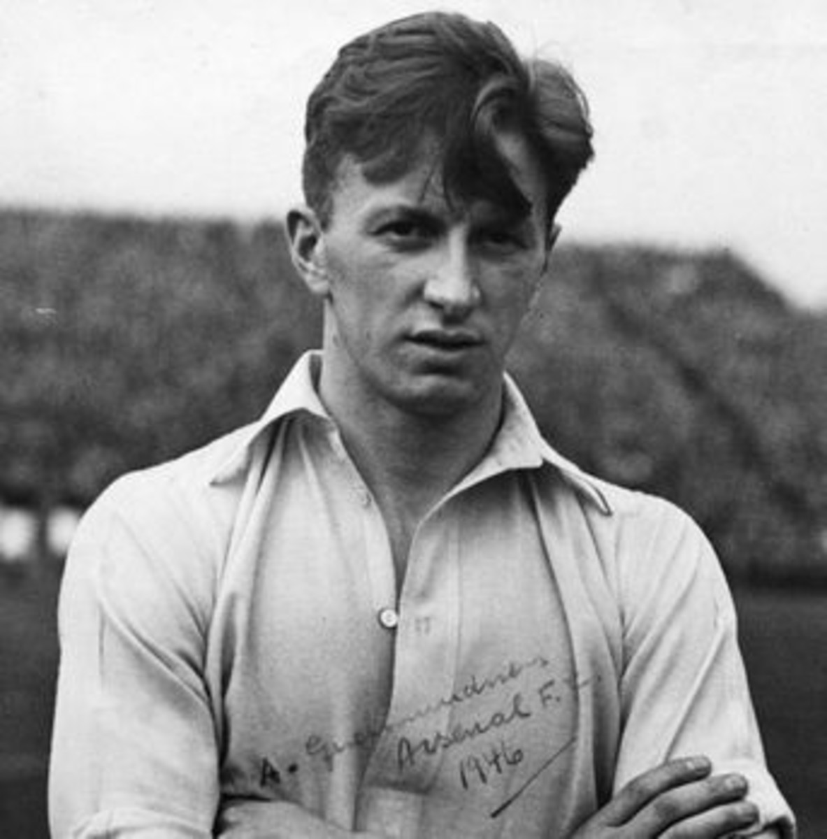 Albert Sigurður Guðmundsson is shown here while at Arsenal in 1946. Iceland's first professional football player, Albert Sigurður's footballing lineage includes his grandson and famed Icelandic commentator Guðmundur Benediktsson.