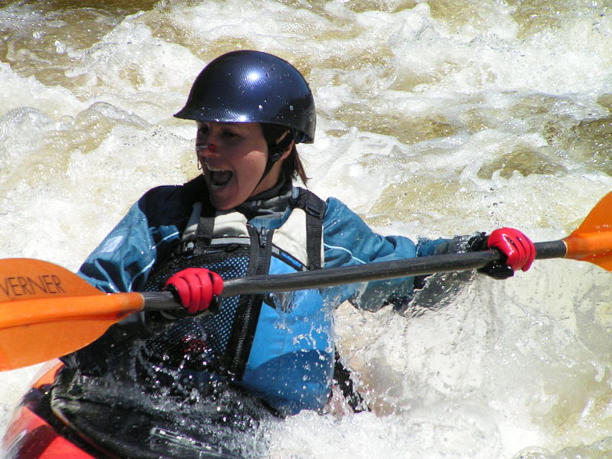 Adults can participate in adventure sports like kayaking.