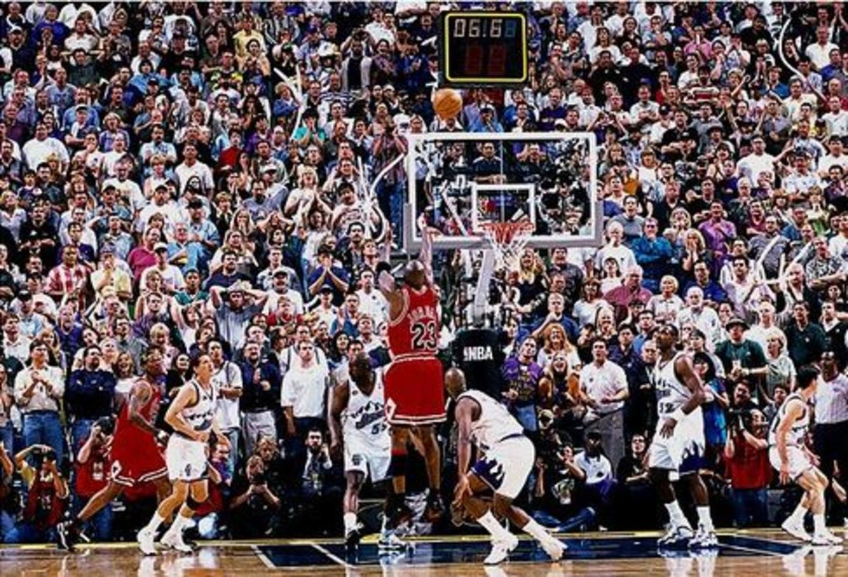 Michael Jordan caps his career in Chicago with a clutch basket in the 1998 NBA Finals.