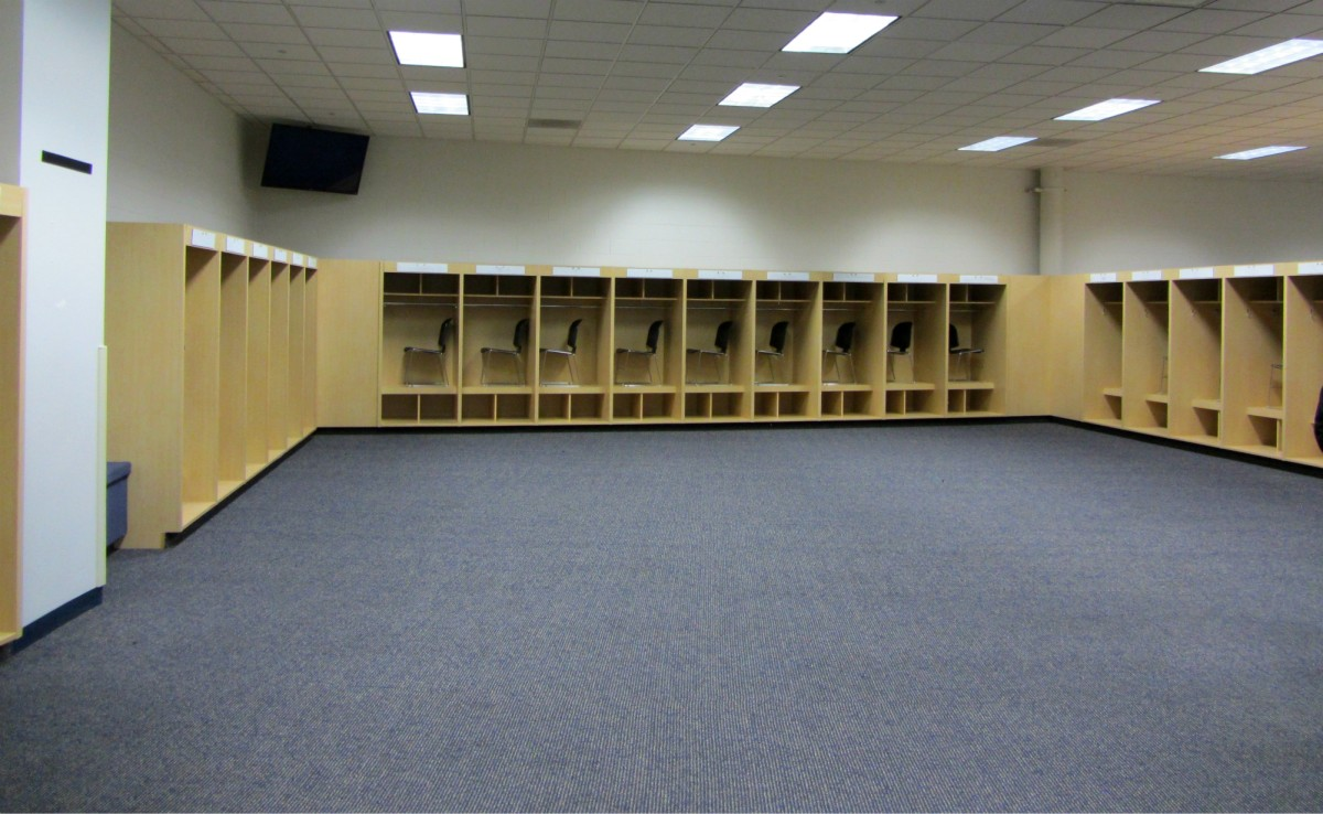 Visiting team's offensive locker room at Mile High