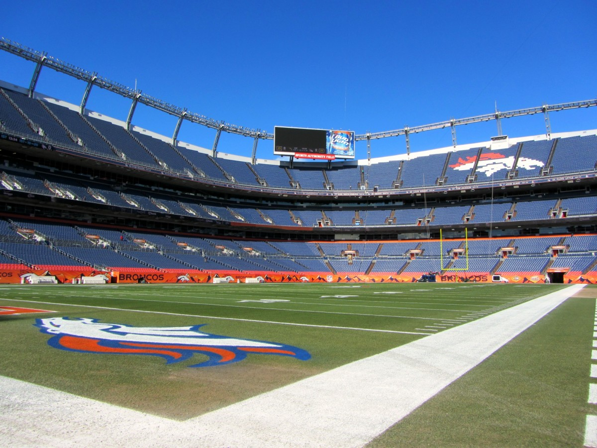 View of the football field where the Denver Broncos play.