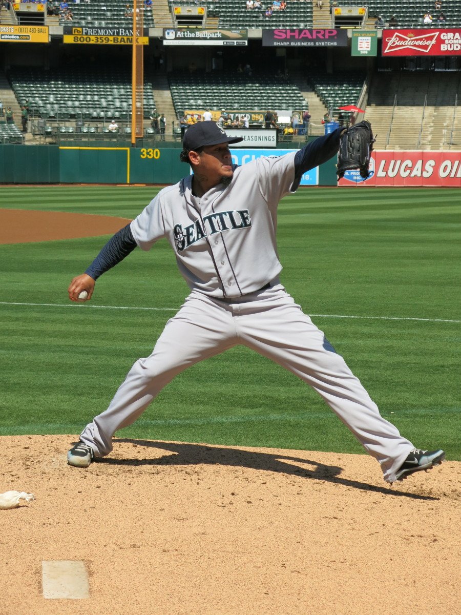 Former Seattle Mariners ace Felix Hernandez prepares for a 2014 road game.