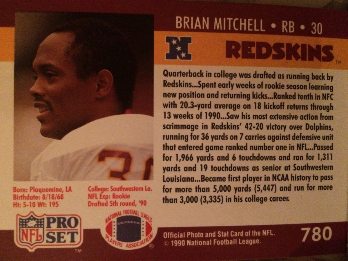 Back of Mitchell's Pro Set Rookie Card