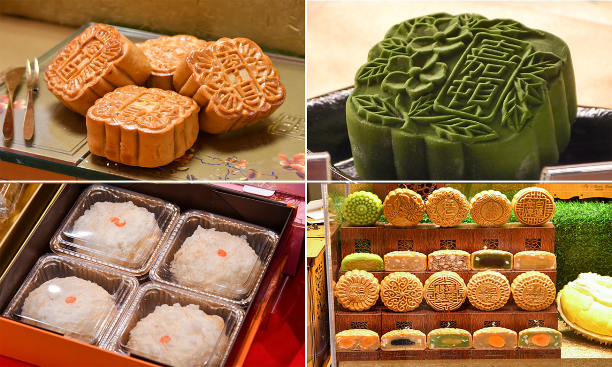 There are many regional variations of mooncakes. Clockwise from top left: Traditional, snow skin, a display featuring popular fillings, and chao shan.
