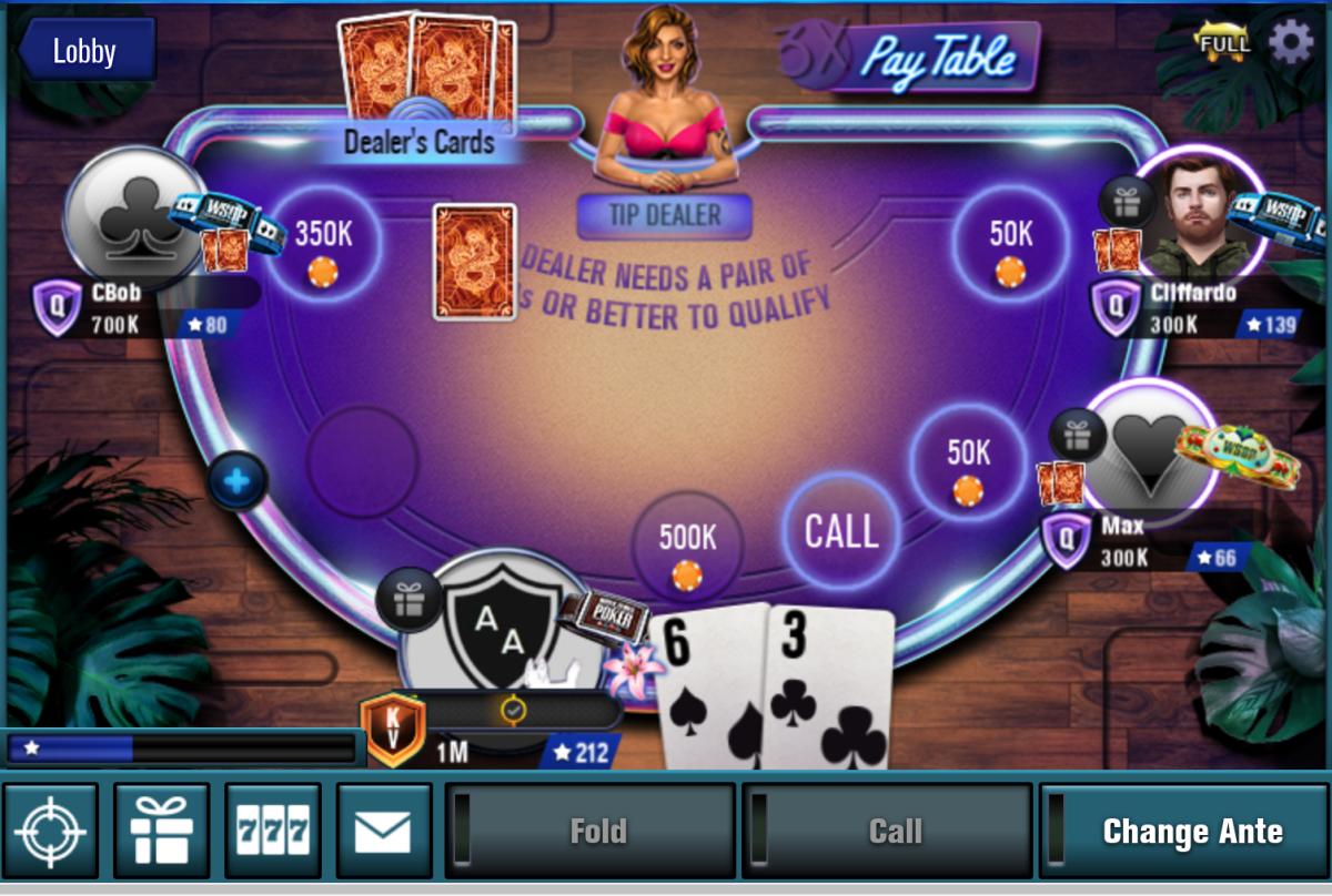 The Caribbean Hold 'em poker table.