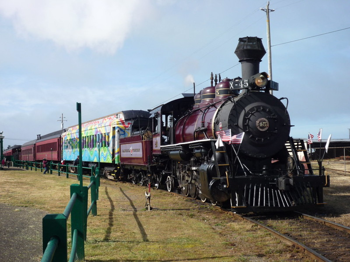 Front view of the famous Skunk Train in motion.