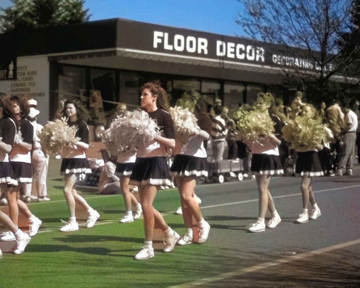 The AI tried with this photo, it really did! It appropriately colorized some of the cheerleaders' faces and legs, but missed others. Also, it had trouble distinguishing the pavement from grass, and started to color it green, but didn't finish the job