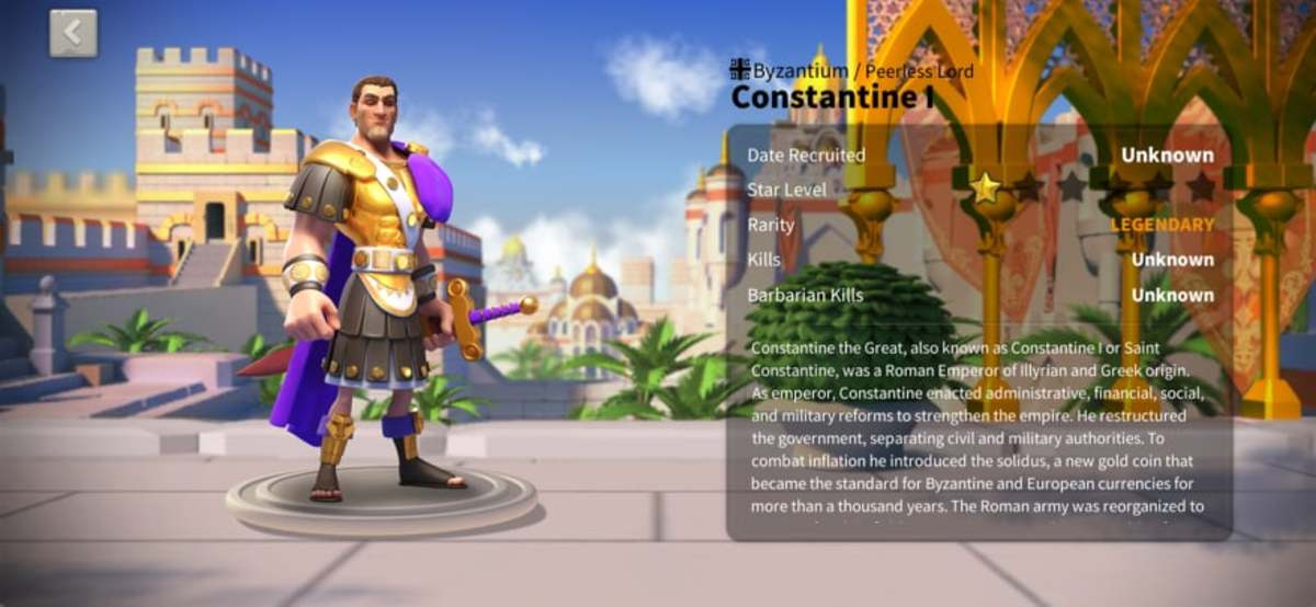 """Constantine Profile Page in """"Rise of Kingdoms"""""""