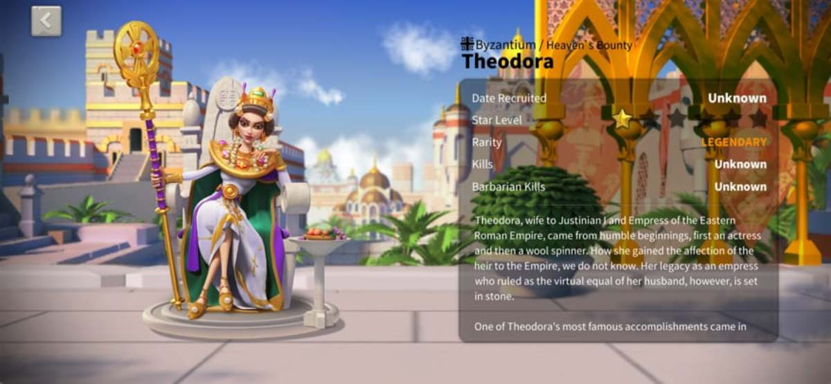 "Theodora Profile Page in ""Rise of Kingdoms"""