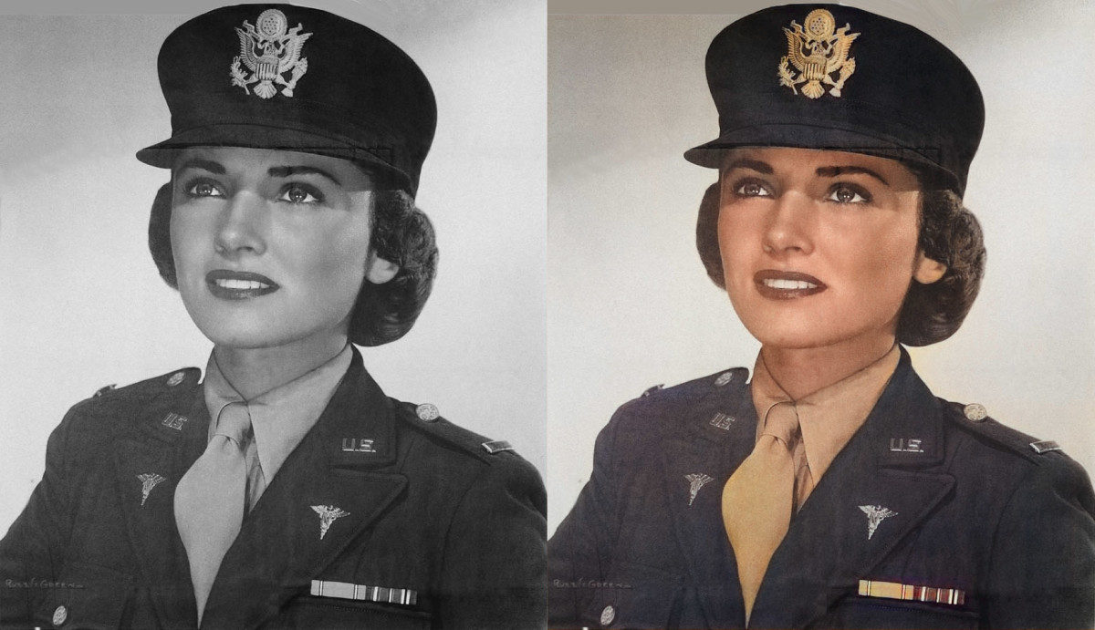 The artificial intelligence tinted this Army Nurse Corp's lips red, gave her a natural skin tone, and even added a gold tint to the badge on her cap
