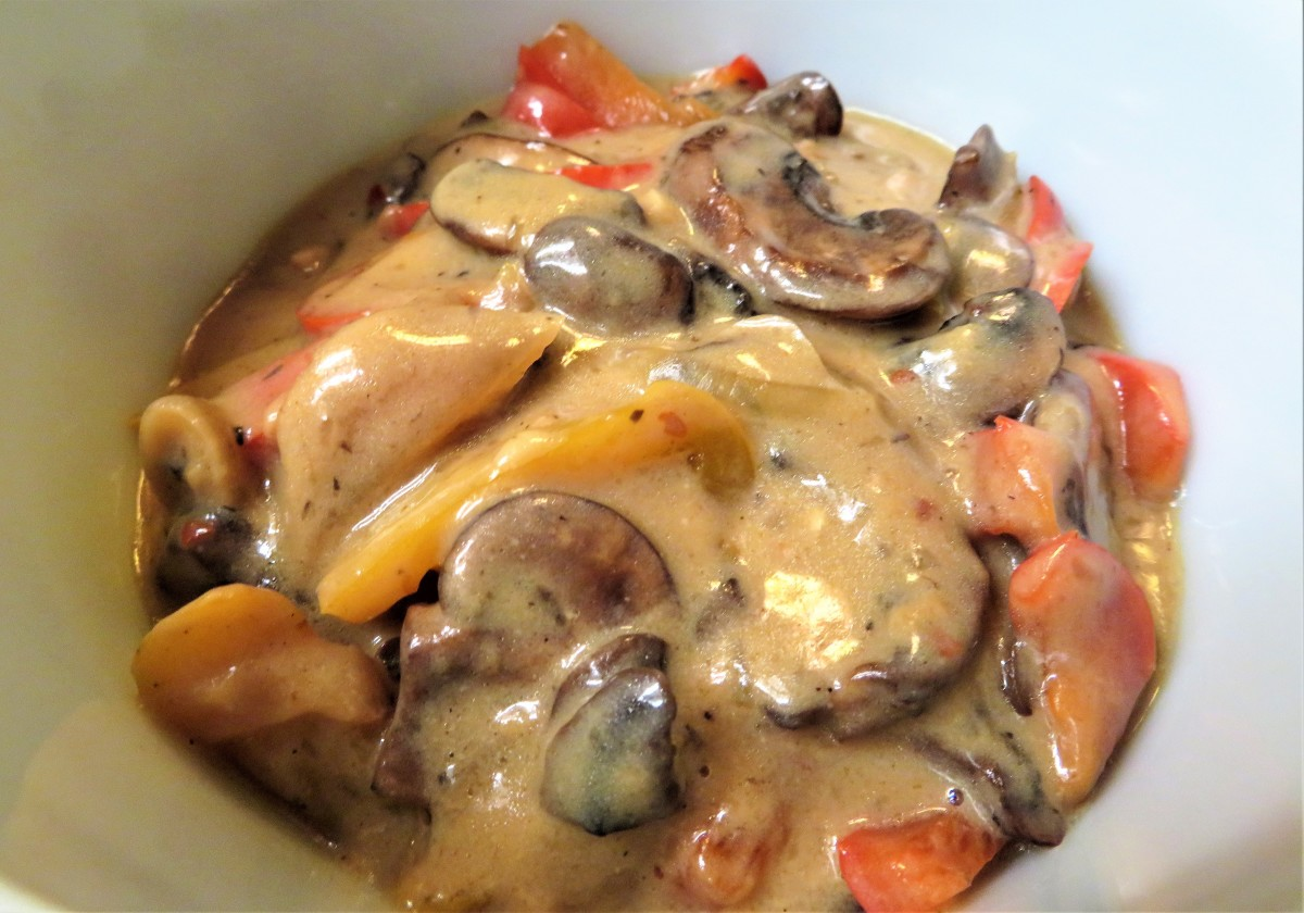 Creamy and chunky dry marsala sauce with mushrooms and more!