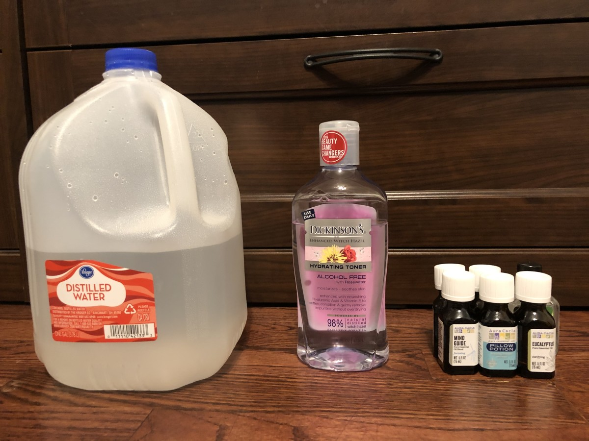 Distilled H2O, Witch Hazel, and Assorted Essential Oils