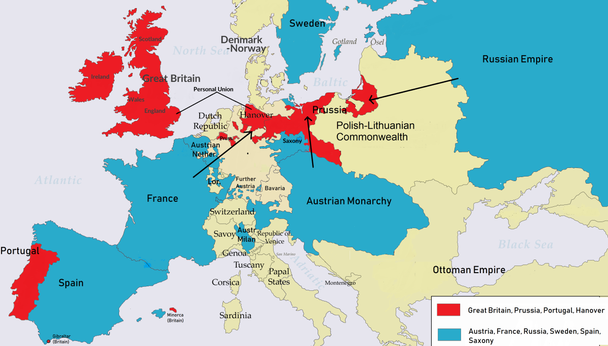 Here's a look at the breakdown of countries in the Seven Years' War in Europe—note that Spain and Portugal only joined later.