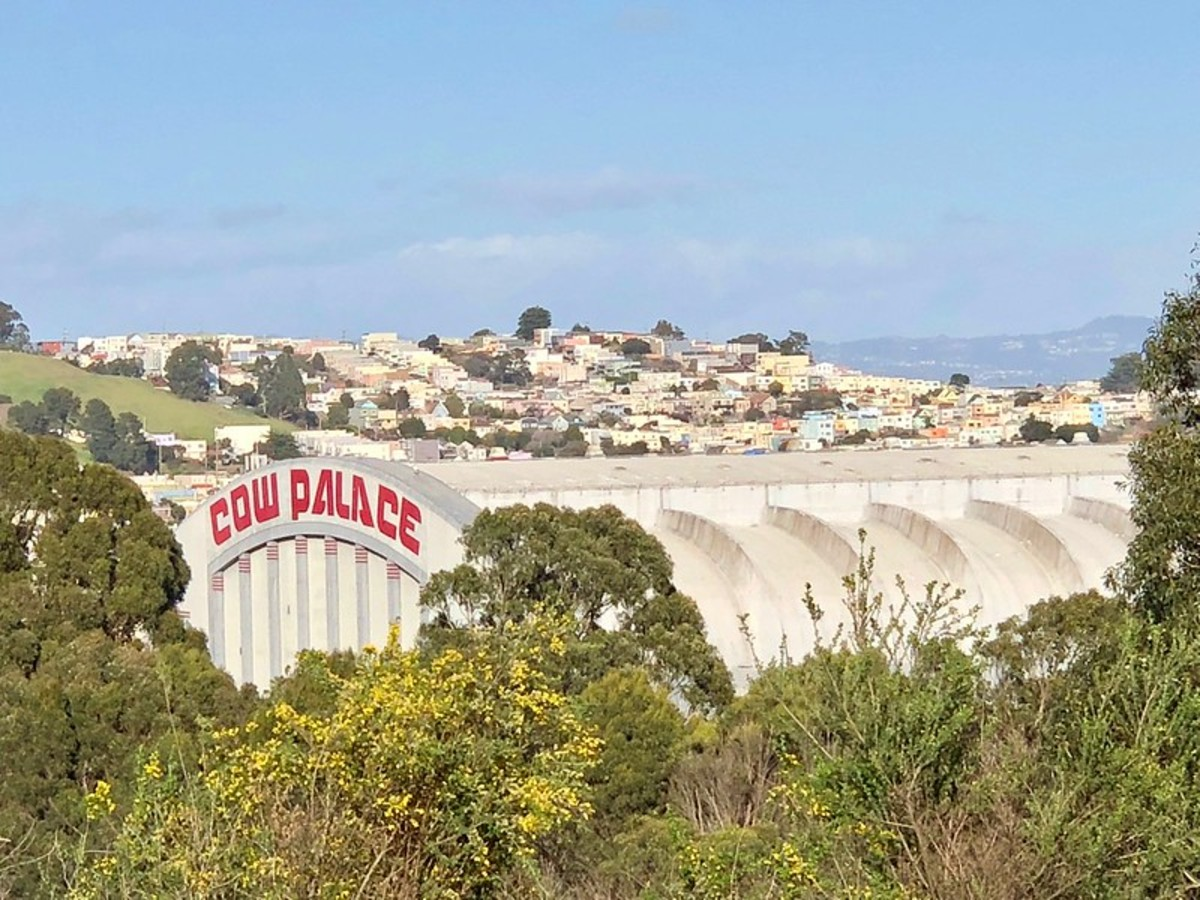 Cow Palace as seen from the hillside above