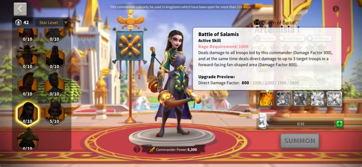 "Artemisia I Skill Page in ""Rise of Kingdoms"""