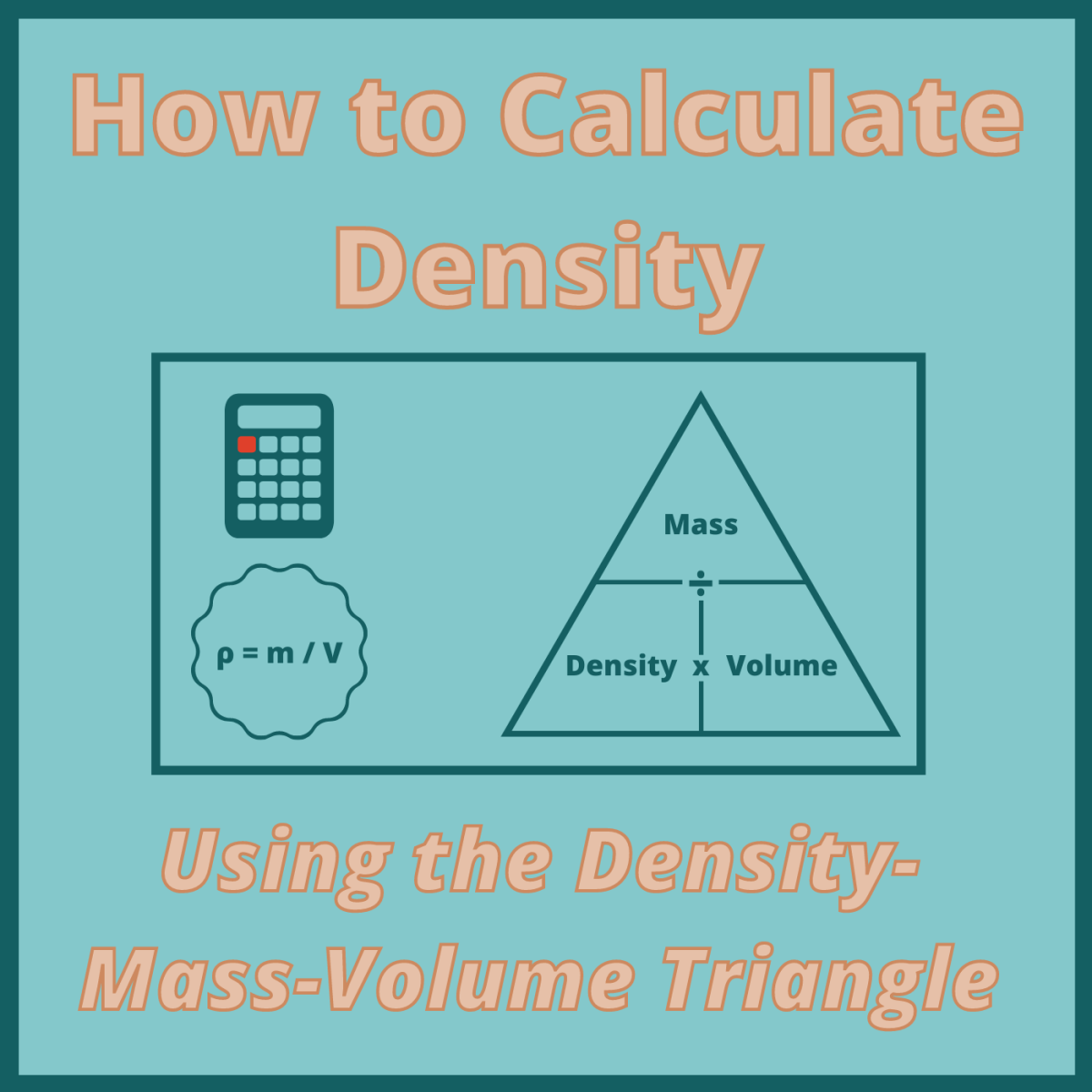 Learn how to calculate the density, mass, or volume of a solid object using this handy visual tool.