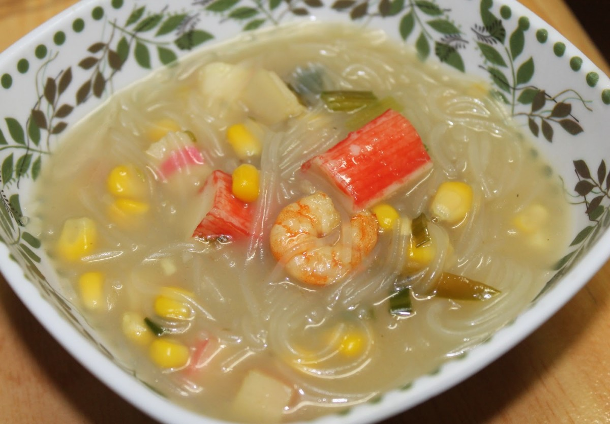 Filipino Sotanghon Noodle Soup with Shrimp and Imitation Crab