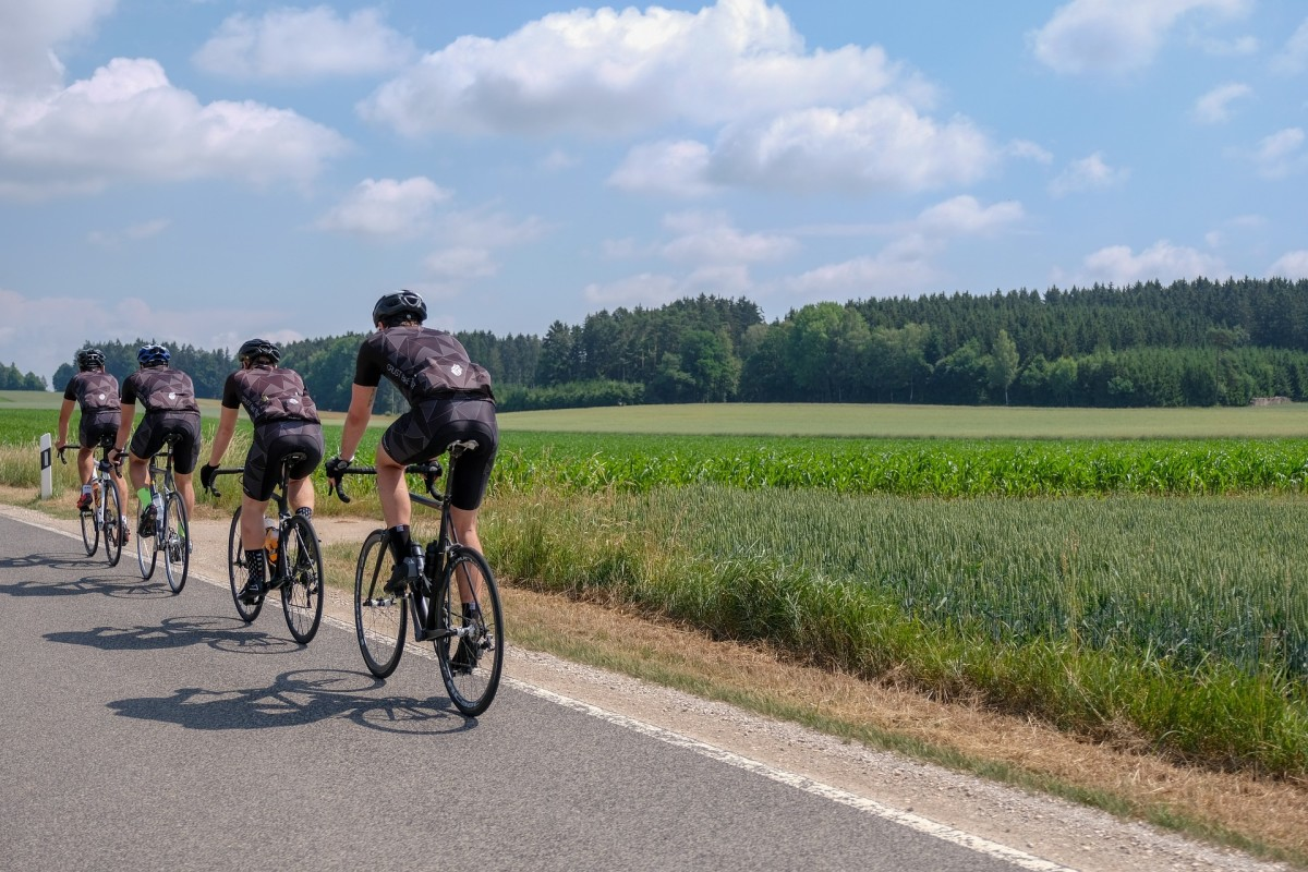 Cyclists riding in a pace line