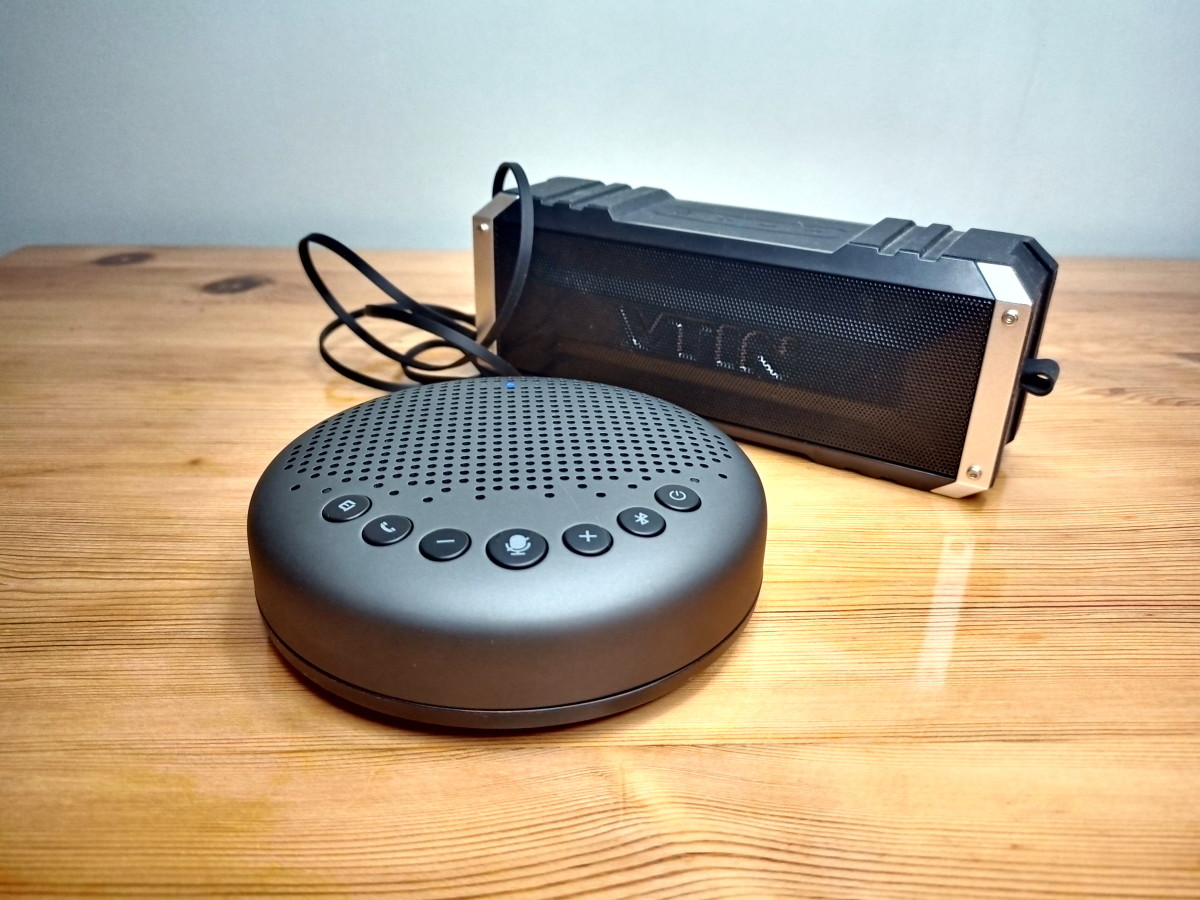 Speakerphone connected to an external speaker
