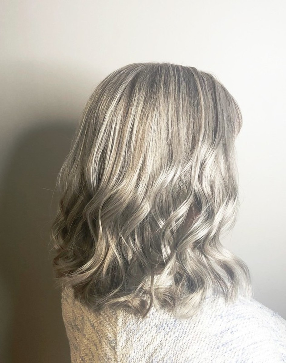 Metallic blonde hair