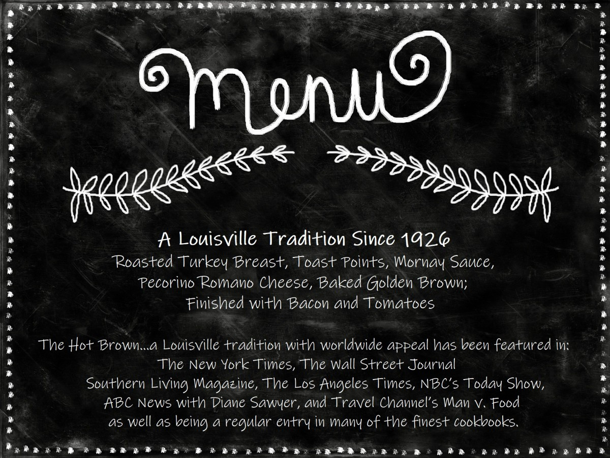 Using the actual wording from the Brown Hotel menu, I created this graphic.