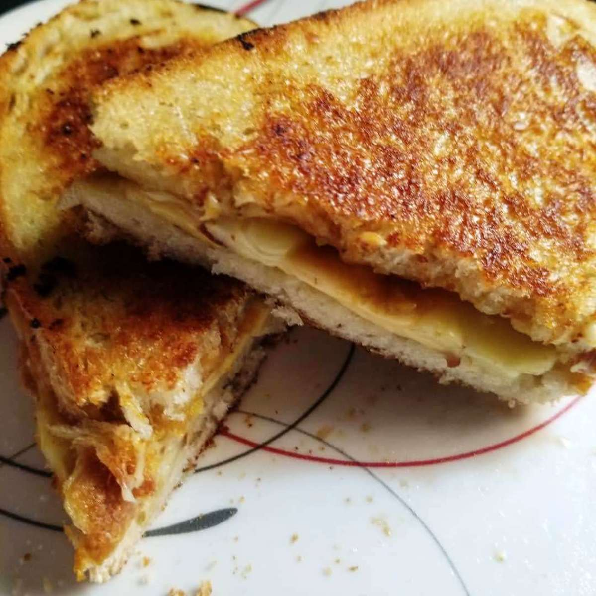Roasted garlic and caramelized onion griled cheese