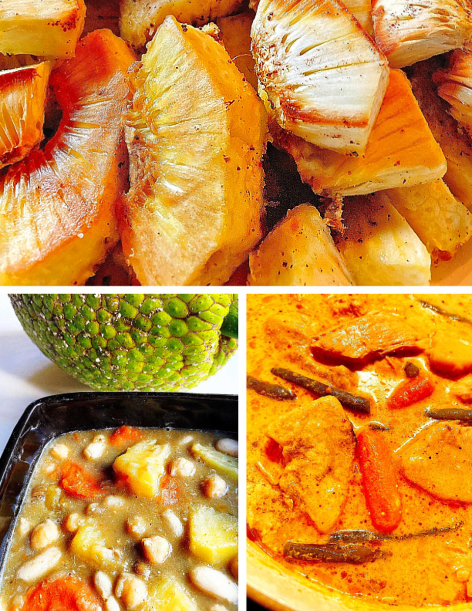 Top: Fried breadfruit sprinkled with sea salt. Bottom left: Breadfruit stew with beans, chickpeas, and carrots.  Bottom right: Thai yellow curry with breadfruit instead of potatoes.