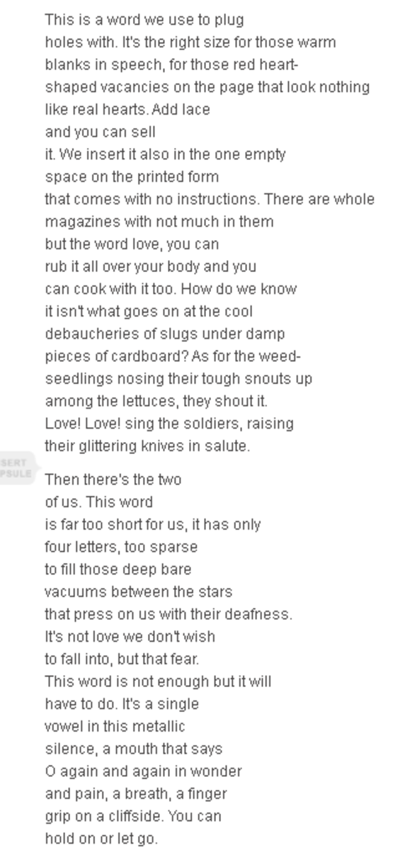Analysis of Poem Variations on the Word Love by Margaret Atwood