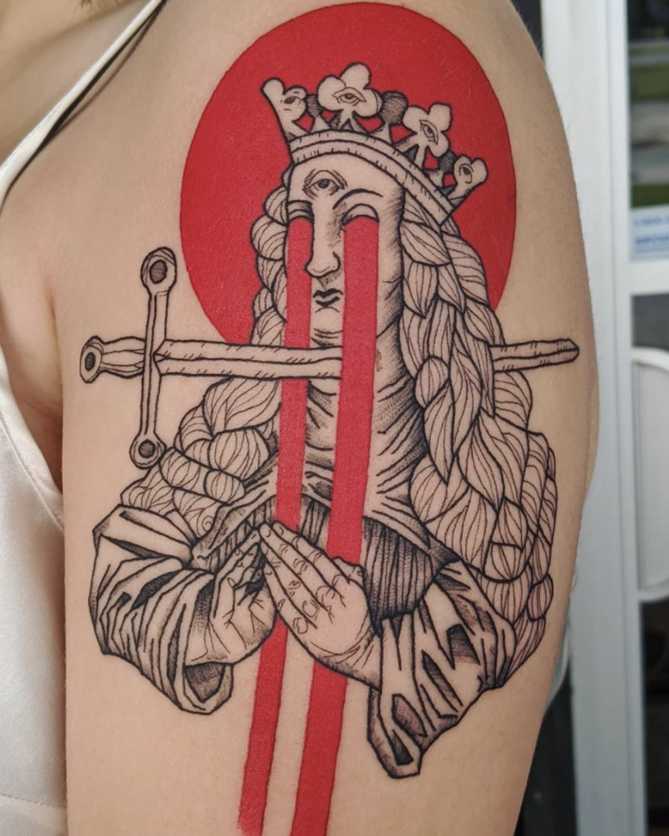 Queen of Swords tattoo by Quinn DeRuiter @femmefatale_quinn at Omega Point Tattoo in Omaha, NE; Design by @micah_ulrich.