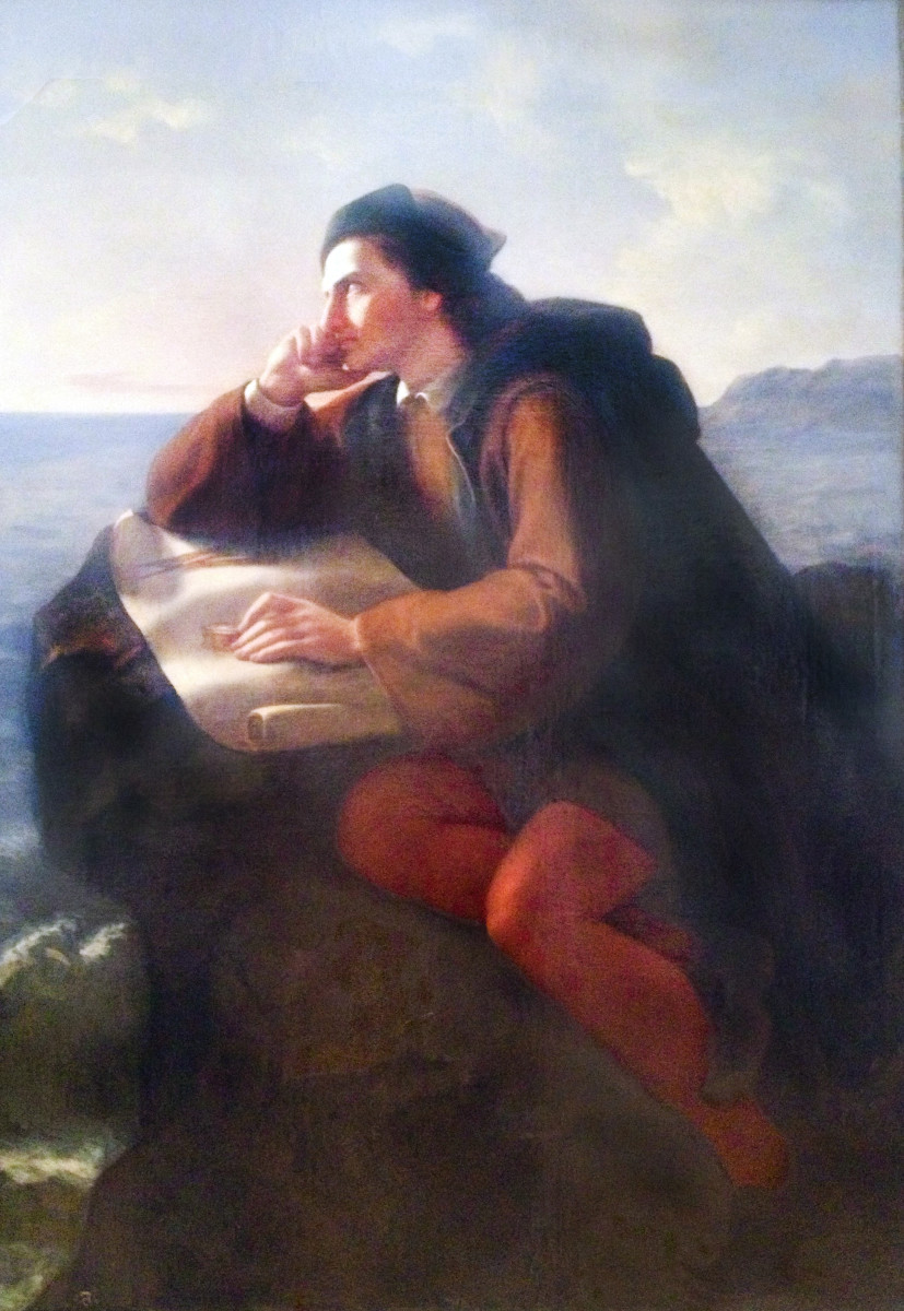 "Painting ""The Inspiration of Christopher Columbus"" by Jose Obregon, 1856."