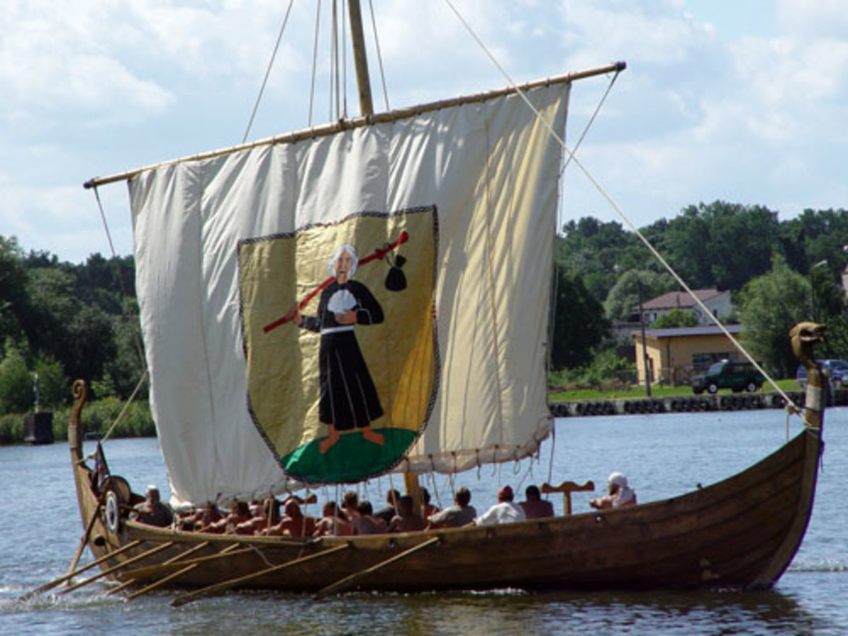 Full scale replica of a Viking longship that is similar to what Leif Erikson used to cross the Atlantic Ocean.
