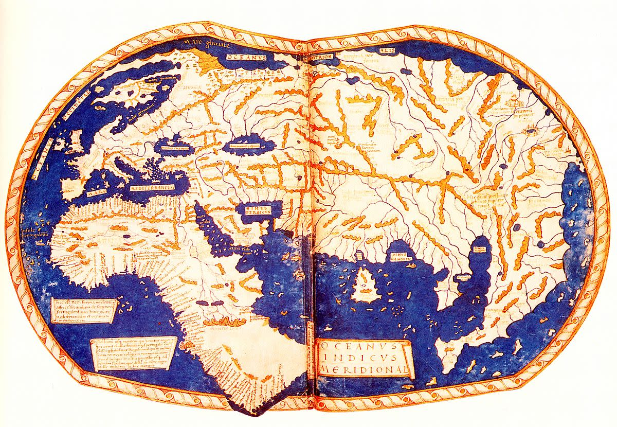 The world map, ca. 1489, by Heinrich Hammer. Note the large size of Asia and the lack of North and South America.