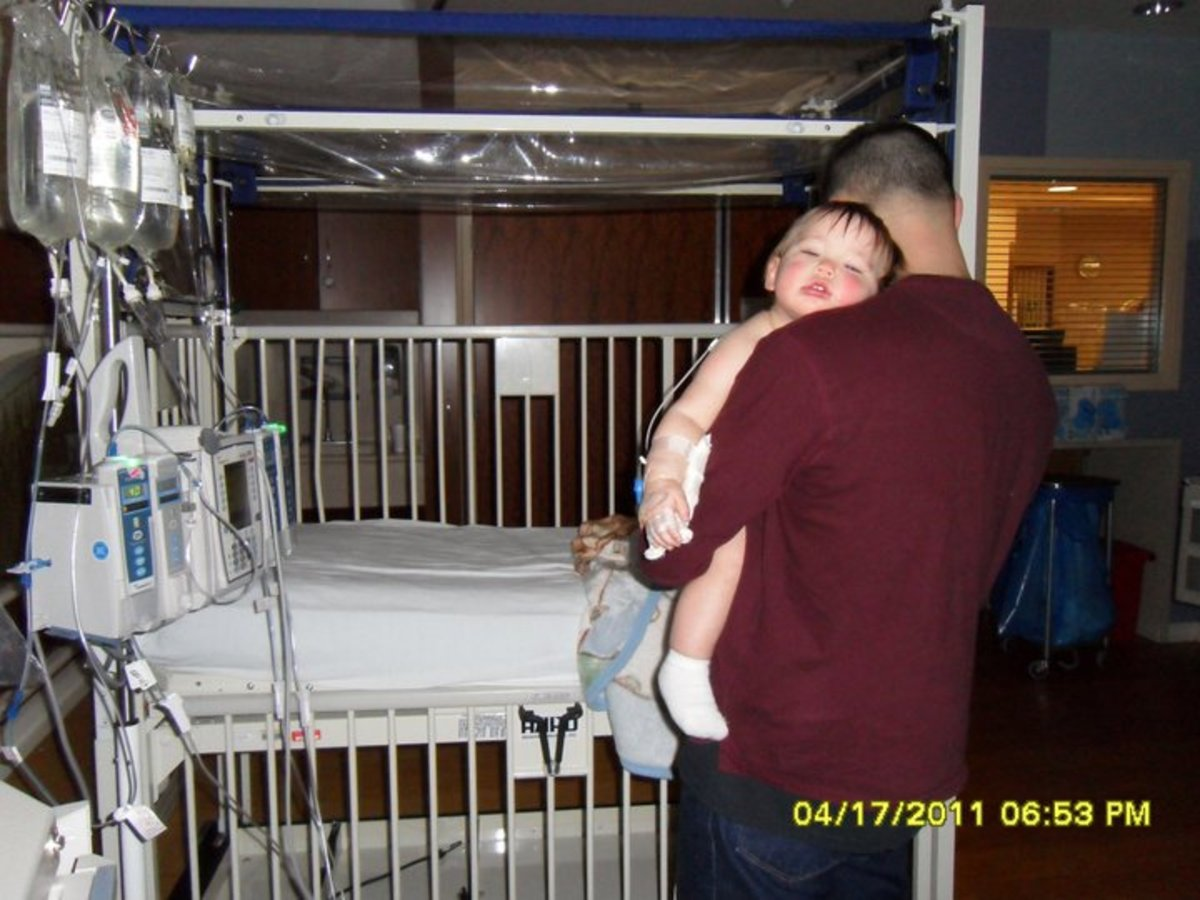 Our son Gage at 14 months in a Riley Hospital 3 hours from home.