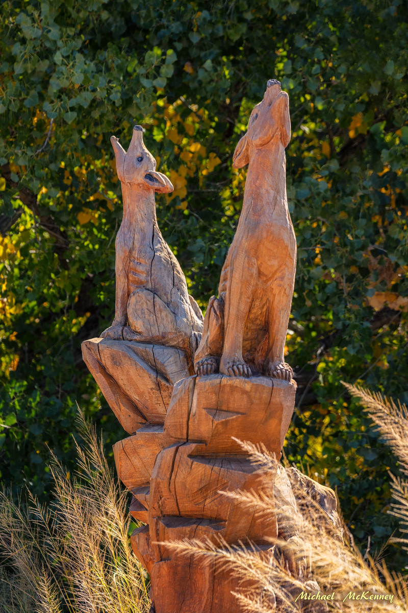 This chainsaw sculpture by Mark Chavez depicts two wolves howling at the moon.