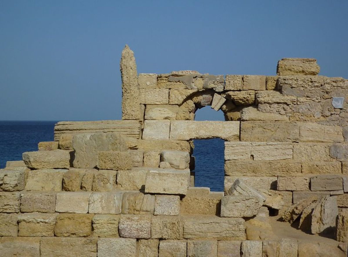 The remains of the Leptis Magna Lighthouse
