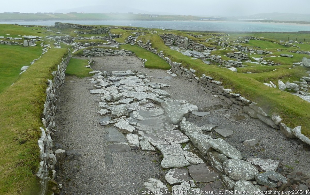 Jarlshof: The Norse settlement (Viking). The Vikings left their mark at Jarlshof with extensive remains at the northern half of the site. The Norse settlement covers a period from about 800 to 1200 AD.